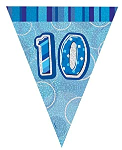 Unique Party Banderines de 10 cumpleaños Color azul Edad (92150