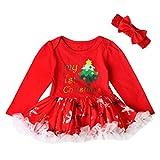 Toamen Bébé Noël Ensembles, Bambin Nouveau née Filles Mode Princesse Lettre Robe + Bandeau (3 Mois, Rouge D)