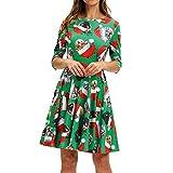 Vestido de Gato Vintage de Navidad para Mujer Vestido de Manga Corta con Estampado de Navidad...