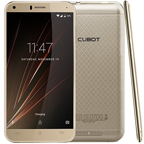 Cubot Manito Smartphone ( 12,7 cm (5 Zoll) HD Touchscreen, 16 GB, Android 6.0) Gold (T-mobile-iphones 6)