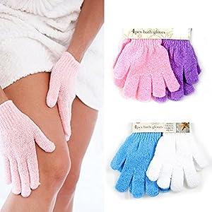 Dealglad®, 4Paar Peeling-Handschuhe, für Hautpflege in Bad und Dusche, aus Luffa