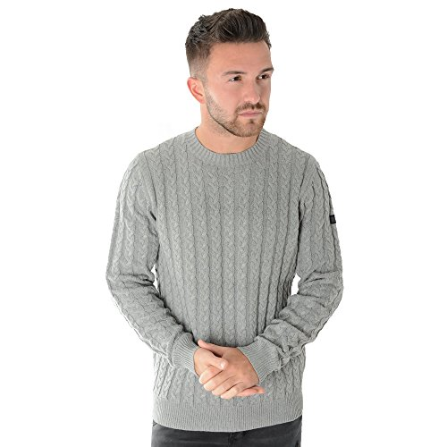 Weekend Offender Woods 1706 Cable Knit Jumper XXX-Large Grey (Herren Cable Knit Jumper)