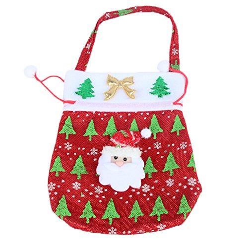Westeng Vlies niedlich niedlich Weihnachten Geschenk Geldbörse Typ Apfel Tasche Weihnachtswaren Santa Claus Geschenk Kind rot (Geldbörse Claus)