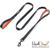 [Gesponsert]2m lange Hundeleine grosse Hunde (200cm Länge) | Schwarze, reflektierende Nylon Führ-Leine mit zwei weich gepolsterten orangen Neopren Hand-schlaufen auch für mittelgroße und mittlere Hunde | Doppelte Griffe mit integriertem Kurzführer