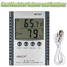 Termometro Igrometro con Orologio Umidità Temperatura,tempo termometri, asscom ™ interna e esterna umidità termometro wall mount controllo sensore termostato centrale