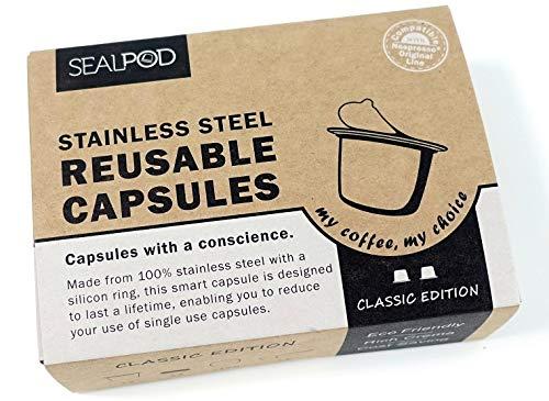 Riutilizzabile capsule Nespresso - Sealpod cialde in acciaio INOX, ricaricabile, per macchine Nespresso (Originalline compatibile) 2 capsules, 120 Lids