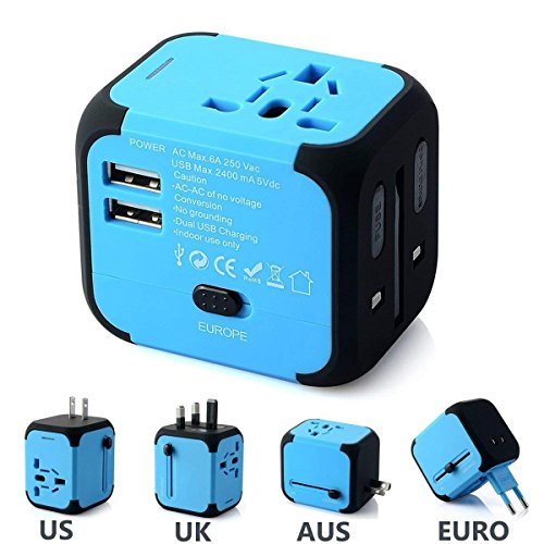 FEIGO Universal Ladegerät Mini Travel Adapter aus 170 Ländern (US UK AU EU) Ladestecker mit Max. 2.4A Dual Zwei USB Port Anschlüsse AC-in -