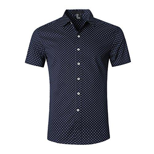 SOOPO Herren Modern Kent-Kragen Businesshemd mit Zarte Punkte Navy blau M - Herren Punkt-kragen-hemd