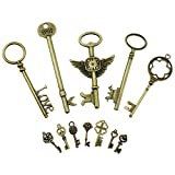 PsmGoods® Weinlese-Skeleton Antique Keys Charme DIY Vorhängeschloss Old Style Blick Bronze 12Pack