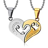 BOBIJOO Jewelry - Collier Pendentif Coeur Séparable Couple Doré à l'Or Fin I Love You Strass