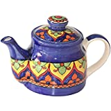 Handmade And Hand Decorated Fine Crafted Khurja Pottery Blue/Yellow Ceramic Single Serving Kattle Or Teapot With Lid Use For Tea Serving, Coffee Serving, Hot Water Serving And Home/Kitchen Decoration Qty-1 Made By Indian Rural Awarded Artisans