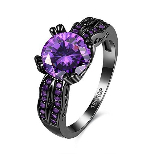 Thumby Copper Black Gun Plated 3.9g Trendy Blue Crystal Ring for (Dahlia Kostüm Design Black)