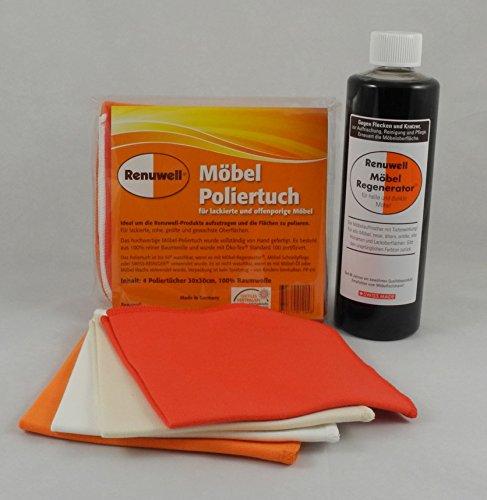 Preisvergleich Produktbild Renuwell Spar-Set Möbel-Poliertücher 4 Stück + Möbel-Regenerator 500 ml