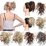 Ombre Hair Extensions Chignons Hairpiece Hair Rubber Scrunchie Scrunchy Updos VOLUMINOUS Straight Messy Bun Ash Blonde to Bleach Blonde