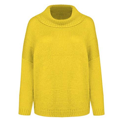 MOTOCO Frauen Zopfmuster Rollkragenpullover Beiläufige Dicke Langarmshirts Pullover Plus Size Oversized(S,Gelb)