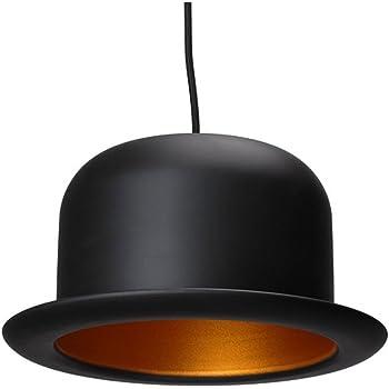 La chaise longue 31-ZL1-001 Suspension Chapeau Melon Noir et doré Métal Ampoule halogène incluse D24 x H14 cm