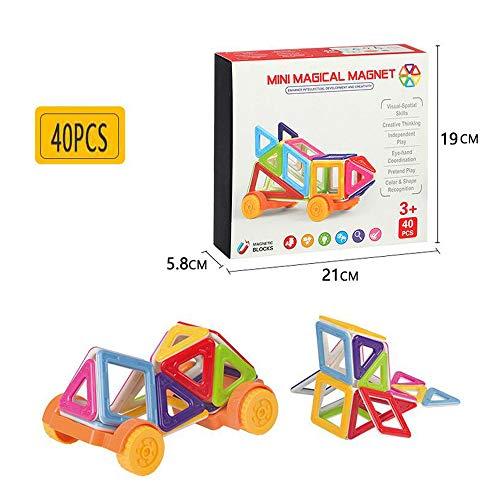 Erwei Magnetische Bausteine Magnete Bauklötze Konstruktion Blöcke Bausatz Pädagogisches Spielzeug Set Kreative Spielzeuge Kinder Kleinkind Mädchen Jungen Tolles (40tlg)