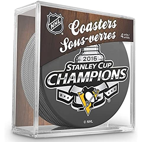 Sher-Wood per Pittsburgh Penguins 2016Stanley Cup Champions NHL Puck sottobicchieri (Set di 4)