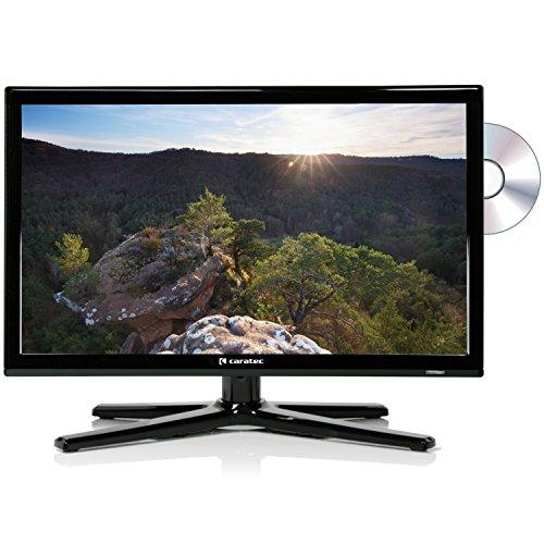 Caratec Vision CAV226DSW 22'' 55 cm Weitwinkel LED-TV mit DVD-Player, DVB-T, DVB-T2 HD, DVB-S2, HDMI, USB, schwarz, mit Fernbedienung, ideal für Wohnmobil und Caravan
