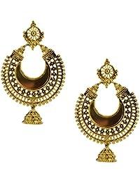 Oxidized Antique Mirror Chandbali Earrings/jhumki/jumka Gold Plated Antique Finish Chandelier Earring For Girl...