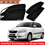 #7: Autofact Magnetic Window Sunshades/Curtains for Skoda Fabia [Set of 4pc - Front 2pc With Zipper ; Rear 2pc Without Zipper] (Black)