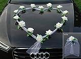 Décoration de voiture ORGANZA HERZ, mariée, couple, rose, décoration, décoration de voiture mariage, guirlande rose, automobile Ecru / Weiß