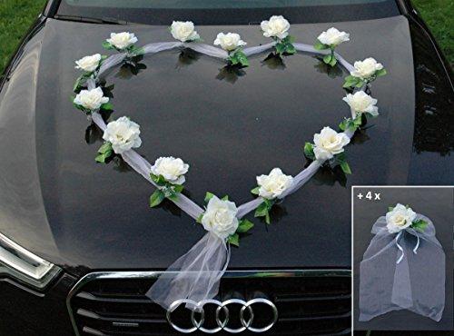 ORGANZA HERZ Auto Schmuck Braut Paar Rose Deko Dekoration Autoschmuck Hochzeit Car Auto Wedding Deko Girlande PKW (Ecru / Weiß)