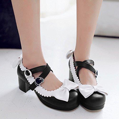 Mee Shoes Damen süß mit Borte chunky heels Pumps Schwarz