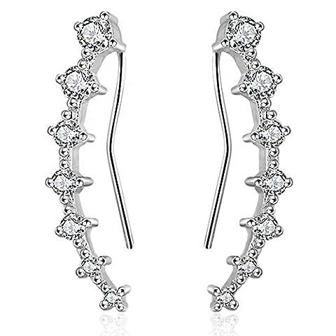 Joyfulshine femmes forme feuille boucles d'oreilles manchette 925 Sterling argent plaqué zircone cubique