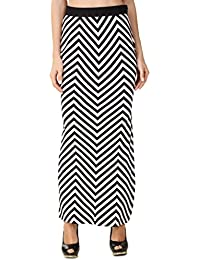 TEXCO Stripe Full Length Side Slit Skirt