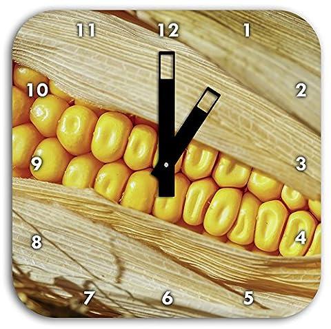 Le maïs en épi en gros plan, diamètre horloge murale 28cm avec des mains carrées noires et visage, objets de décoration, Designuhr, composite aluminium très agréable pour séjour, bureau