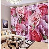 WKJHDFGB 3D Vorhänge Rosa 3D Rose 3D Fenster Vorhänge Für Bettwäsche Raum Dekoration 215X200Cm