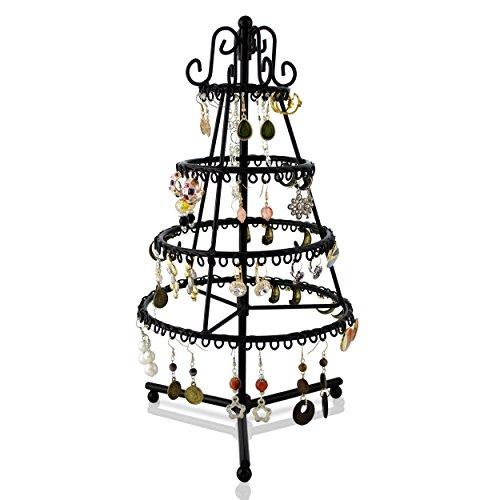 """Support rotatif à bijoux - Design """"Sapin"""" Noir 34 x 20 x 20 cm - Rangement et Présentation de joyaux - Grinscard"""
