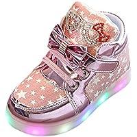 BBsmile - Zapatos de Niños Rosa Oro Plata Casual moda estrella luminosa Colorida luz zapatos Luces Luminosos Zapatillas 10 Sizes (28, Rosa)