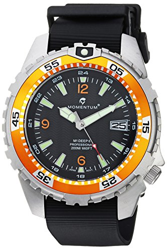 Momentum Men's 'Deep 6' Quartz Stainless Steel and Rubber Casual Watch, Color Black (Model: 1M-DV06O11B)