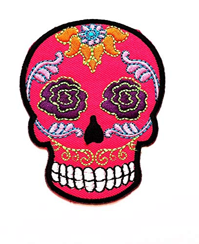1ab8b7618f Pink Lotus Skull Rose eyes Patch Mexican Skull Retro Halloween Night  Cartoon Patch Vest/Jacket