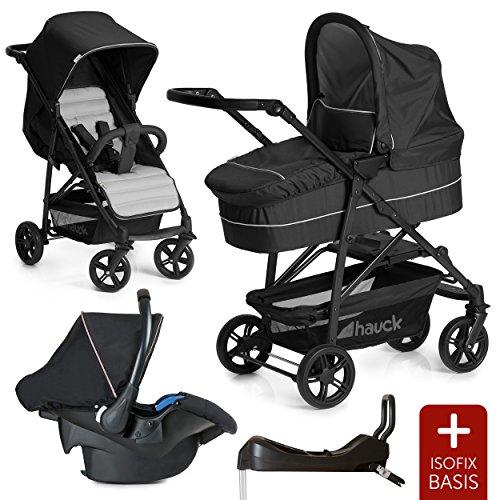Hauck 10-teiliges Kinderwagen Set 3in1 - Rapid 4 Plus Trio Set - inkl. Babyschale (Maxi-Cosi) & Isofix-Basis fürs Auto / Kombikinderwagen ab Geburt bis ca. 22 kg