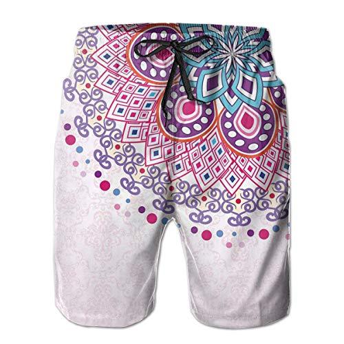 Mens Beach Shorts Swim Trunks,Ethnic Ornamental Figure Meditation Spiritual Zen Boho Style Print,Summer Cool Quick Dry Board Shorts Bathing SuitM