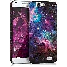 kwmobile Funda dura para Huawei Ascend G7 - Hard Case de plástico para móvil - Cover duro Diseño universo en multicolor rosa fucsia negro