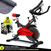 Vélo d'Appartement SX100 Vélo de Biking, Poids d'inertie de 13 KG, Support capitonné pour Bras, Selle Confortable, vélo d'intérieur Silencieux, Tapis de Protection Inclus