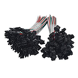 MENGCORE® 20Pair / 20sets 3 pin JST SM Male Female plug LED Connector Cable For WS2812B WS2812 WS2811 LED Strip Lamp with 15cm Long Wire