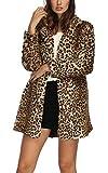 Chaqueta de piel sintética de manga larga para mujeres, ideal para el invierno Marrón...