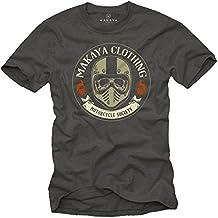 Ropa Motocross hombre - Camiseta Casco Moto Integral con calavera - Skull T-Shirt