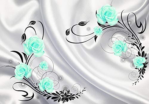 2637a9d2a50ba wandmotiv24 Fototapete türkis Rosen Ornamenten Stofftuch Blumen Kreise Tuch  Seide M4095 XL 350 x 245 cm