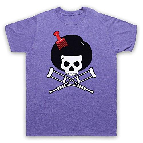 Inspiriert durch Jackass Skull & Crossbones Logo Afro Pick Unofficial Herren T-Shirt Jahrgang Violett