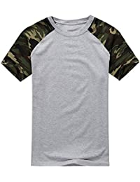 SODIAL(R) Man Casual Camouflage T-shirt Men Cotton Arm Combat T Shirt Military Sport Camo Camp Mens Tees Army gray S