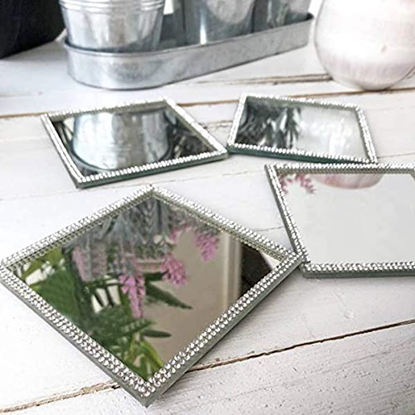 Homezone Set Of 4 Square Glass Mirrored Coasters Diamante Coasters For Drinks Glitter Placemats Silver Mirror Accessories Place Holder Glass Coaster Sparkle Drink Mat Place Mats Mirrored Tiles Amazon Co Uk Kitchen Home