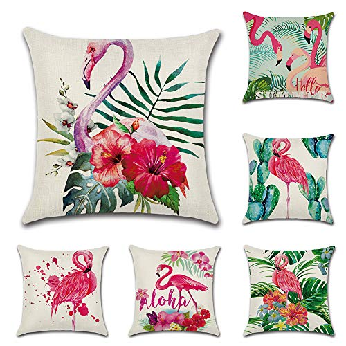 JOTOM 6er Set Baumwolle Leinen Kissenbezug Auto Kissenbezüge Kissenhülle Dekorativ Set Kissen Fall für Sofa Schlafzimmer 45 x 45 cm (Flamingo) - Kissen Schlafzimmer-dekorative