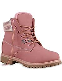Warm Gefütterte Damen Stiefeletten Glitzer Worker Boots