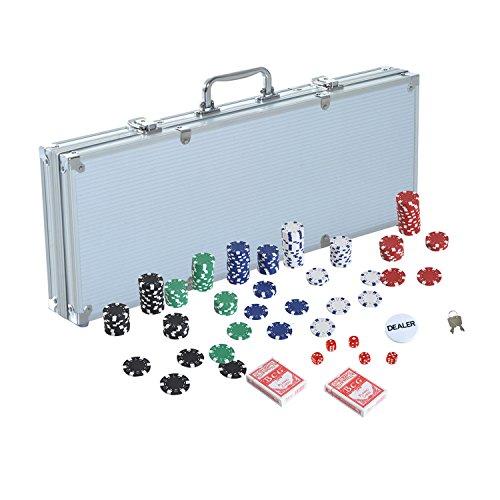 HOMCOM Pokerkoffer Pokerset 500 Pokerchips Poker Set Jetons Koffer Alu+ Polystyrol 55.5x22x6.5cm
